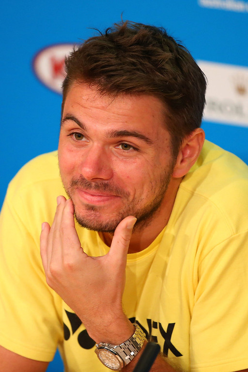 . Stanislas Wawrinka of Switzerland talks at a press conference ahead of his men\'s final match tomorrow against Rafael Nadal of Spain during day 13 of the 2014 Australian Open at Melbourne Park on January 25, 2014 in Melbourne, Australia.  (Photo by Quinn Rooney/Getty Images)
