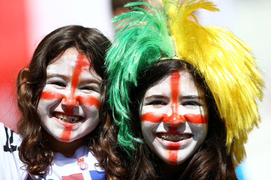 . England fans enjoy the atmosphere prior to the 2014 FIFA World Cup Brazil Group D match between Costa Rica and England at Estadio Mineirao on June 24, 2014 in Belo Horizonte, Brazil.  (Photo by Richard Heathcote/Getty Images)