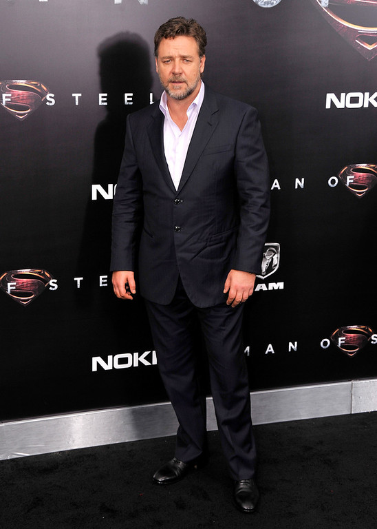 """. Actor Russell Crowe attends the \""""Man Of Steel\"""" world premiere at Alice Tully Hall at Lincoln Center on June 10, 2013 in New York City.  (Photo by Stephen Lovekin/Getty Images)"""