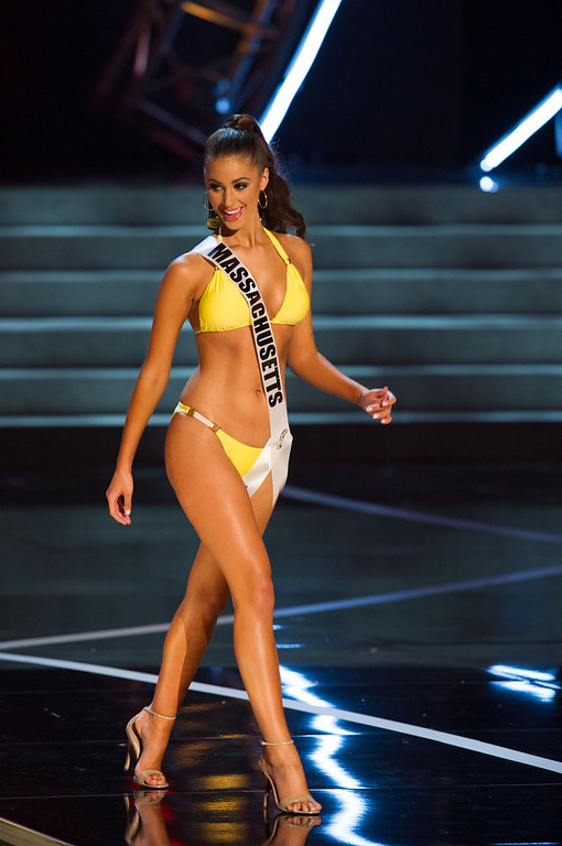 . In this photo provided by the Miss Universe Organization,  Miss Massachusetts USA 2013, Sarah Kidd,  competes in her swimsuit during the  2013 Miss USA Competition Preliminary Show in Las Vegas on Wednesday June 12, 2013.   She will compete for the title of Miss USA 2013 and the coveted Miss USA Diamond Nexus Crown on June 16, 2013.  (AP Photo/Miss Universe Organization, Darren Decker)