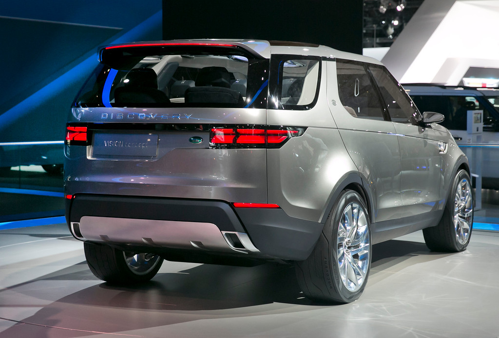 . The 2015 Land Rover Discovery Vision Concept is introduced during the 2014 New York International Auto Show, at the Javits Convention Center, in New York, Wednesday, April 16, 2014. (AP Photo/Richard Drew)