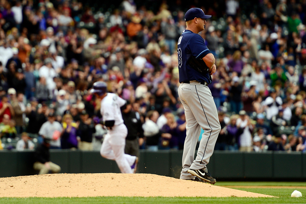 . DENVER, CO - MAY 5: Alex Cobb (53) of the Tampa Bay Rays reacts to giving up a solo home run to Troy Tulowitzki (2) of the Colorado Rockies during the Rockies\' 8-3 loss.   (Photo by AAron Ontiveroz/The Denver Post)