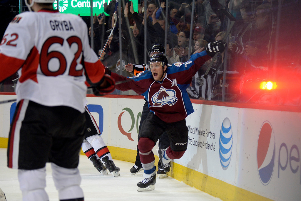. DENVER, CO - JANUARY 08: Colorado Avalanche center Paul Stastny (26) celebrates his game tying goal late in the third period against the Ottawa Senators January 8, 2014 at Pepsi Center. Colorado Avalanche defeated the Ottawa Senators 4-3 in overtime.  (Photo by John Leyba/The Denver Post)