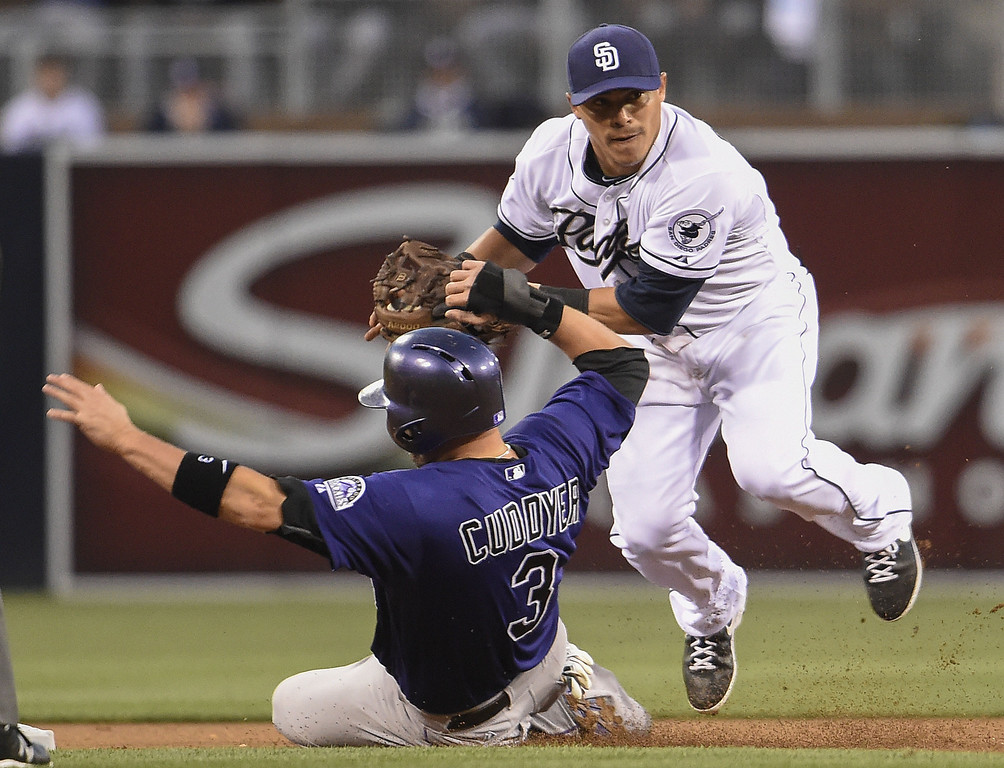 . Michael Cuddyer #3 of the Colorado Rockies slides under Everth Cabrera #2 of the San Diego Padres as he breaks up a double play attempt during the first inning of a  baseball game at Petco Park April 14, 2014 in San Diego, California.  (Photo by Denis Poroy/Getty Images)