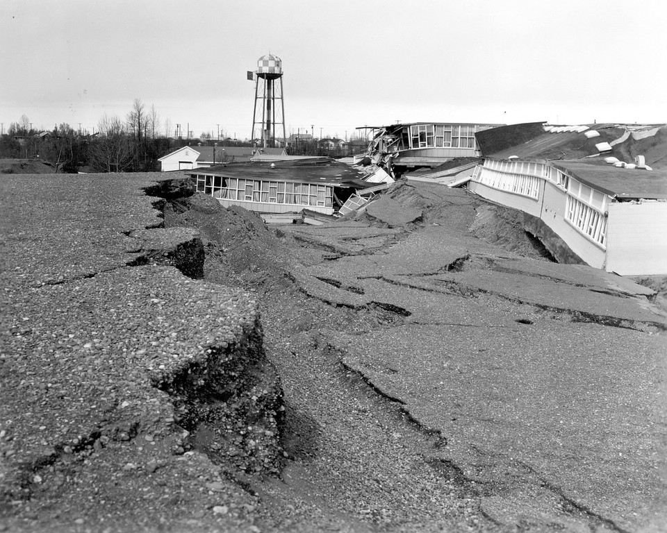 . In this March 1964 photo released by the U.S. Geological Survey, the Government Hill Elementary School is shown destroyed following an earthquake in Anchorage, Alaska.  (AP Photo/U.S. Geological Survey)