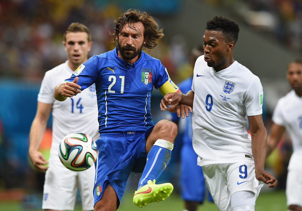 . Andrea Pirlo of Italy controls the ball against Daniel Sturridge of England during the 2014 FIFA World Cup Brazil Group D match between England and Italy at Arena Amazonia on June 14, 2014 in Manaus, Brazil.  (Photo by Claudio Villa/Getty Images)