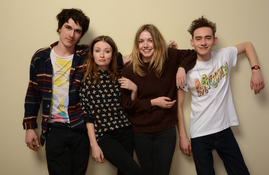 . (L-R) Actors Pierre Boulanger, Emily Browning, Hannah Murray, and Olly Alexander pose for a portrait during the 2014 Sundance Film Festival at the Getty Images Portrait Studio at the Village At The Lift on January 20, 2014 in Park City, Utah.  (Photo by Larry Busacca/Getty Images)