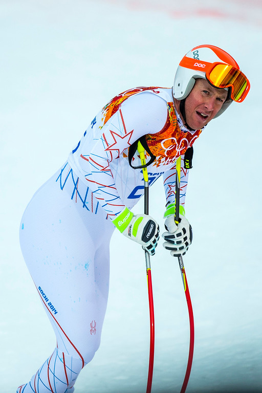 . KRASNAYA POLYANA, RUSSIA  - JANUARY 9: Marco Sullivan, of Truckee, Calif., reacts after competing in the Men\'s Downhill race at Rosa Khutor Alpine Center during the 2014 Sochi Olympic Games Sunday February 9, 2014. Sullivan finished in 30th place with a time of 2:10.10.  (Photo by Chris Detrick/The Salt Lake Tribune)