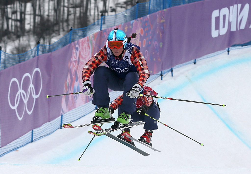 . Marielle Thompson (front) leads fellow Canadian Kelsey Serwa on her way to winning in the women\'s Freestyle Ski Cross event at the Sochi 2014 Olympic Games, Krasnaya Polyana, Russia, 21 February 2014.  EPA/SERGEY ILNITSKY