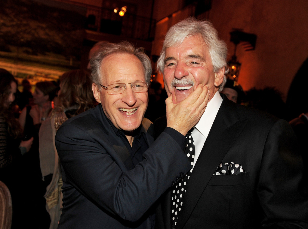 ". Executive producer/director Michael Mann (L) and actor Dennis Farina pose at the after party for the premiere of HBO\'s ""Luck\"" at the Roosevelt Hotel on January 25, 2012 in Los Angeles, California.  (Photo by Kevin Winter/Getty Images)"