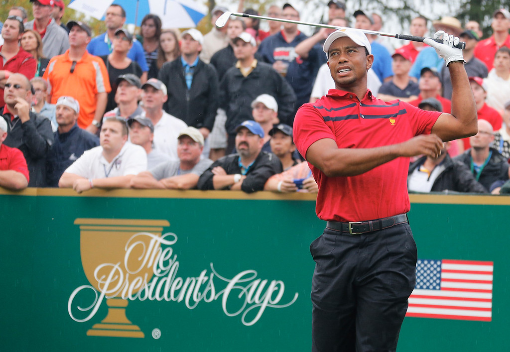 . DUBLIN, OH - OCTOBER 05:  Tiger Woods of the U.S. Team hits his tee shot on the eighth hole during the Day Three Foursome Matches at the Muirfield Village Golf Club on October 5, 2013  in Dublin, Ohio.  (Photo by Gregory Shamus/Getty Images)