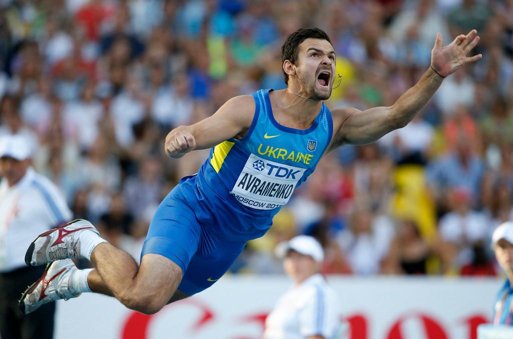 . Ukraine\'s Roman Avramenko competes in the men\'s javelin throw final at the World Athletics Championships in the Luzhniki stadium in Moscow, Russia, Saturday, Aug. 17, 2013. (AP Photo/Matt Dunham)
