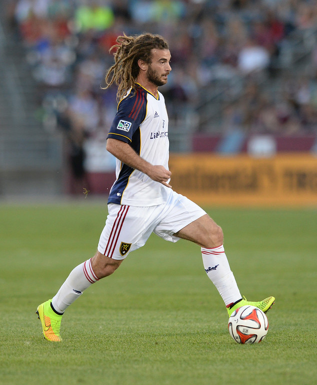 . COMMERCE CITY, CO - AUGUST 2: Salt Lake captain Kyle Beckerman controlled the ball at midfield in the second half.  Real Salt Lake defeated the Colorado Rapids 1-0 at Dick\'s Sporting Goods Park Saturday night, August 2, 2014.  Photo by Karl Gehring/The Denver Post