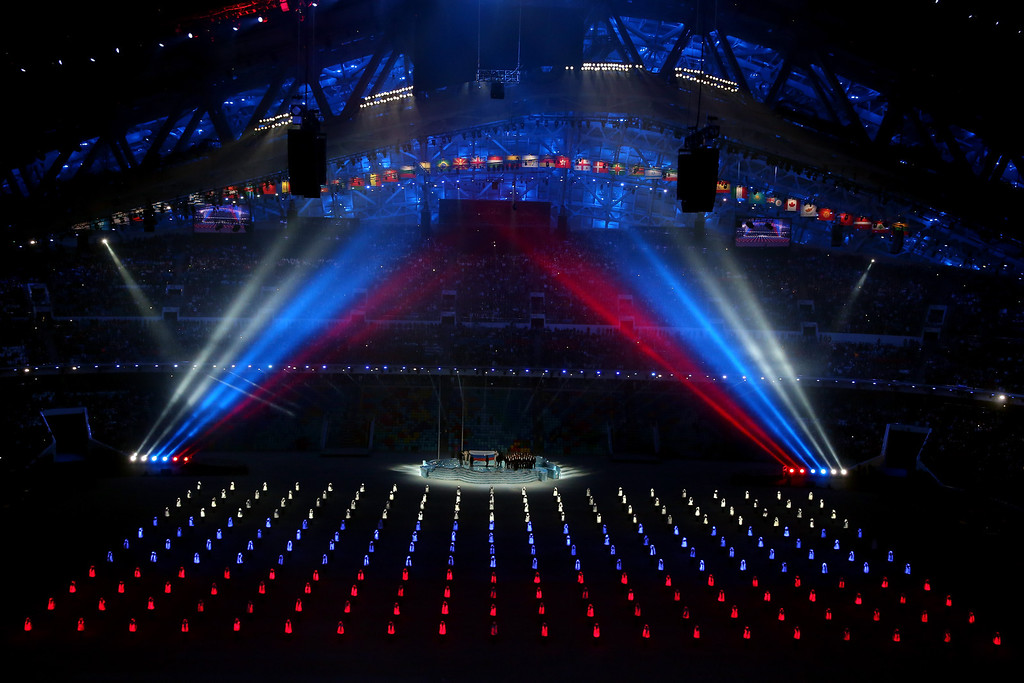 . Athlete marshals come together to form the Russian flag during the Opening Ceremony of the Sochi 2014 Winter Olympics at Fisht Olympic Stadium on February 7, 2014 in Sochi, Russia.  (Photo by Quinn Rooney/Getty Images)