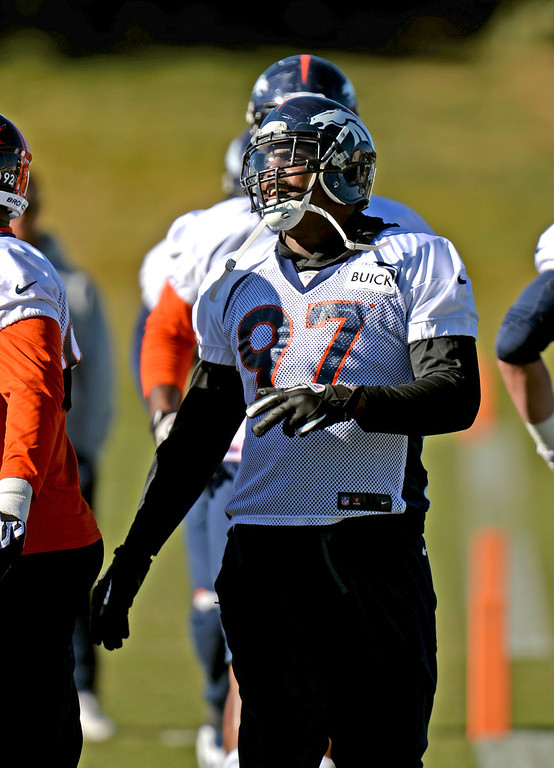 . Denver Broncos Malik Jackson (97)  warming up for the team practice at Dove Valley practice field, Englewood, Colorado, November 15, 2013. (Photo by Hyoung Chang/The Denver Post)
