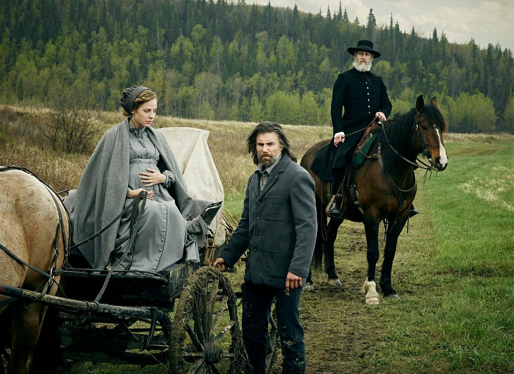 ". Mackenzie Porter as Naomi, Anson Mount as Cullen Bohannan and Christopher Heyerdahl as The Swede in AMC\'s \""Hell On Wheels\"" Season 4.  (Photo by James Minchin III/AMC)"