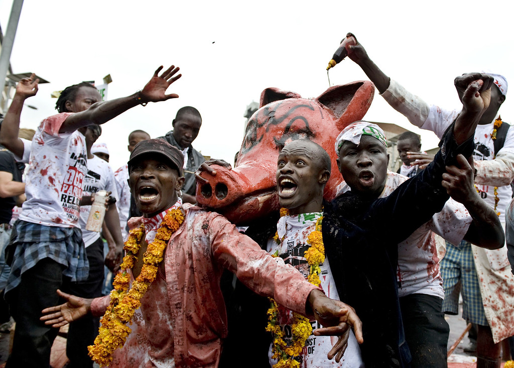 . Protestors chant while cover a sculpture of a pig with rotten animal blood during a demonstration outside the parliament after lawmakers voted themselves hefty salary increases on June 11, 2013 in Nairobi. The protestors had intended to occupy the parliament but were not allowed in by anti-riot police. TONY KARUMBA/AFP/Getty Images