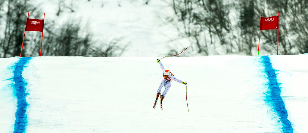 . KRASNAYA POLYANA, RUSSIA  - JANUARY 9: Travis Ganong, of Squaw Valley, competes in the Men\'s Downhill race at Rosa Khutor Alpine Center during the 2014 Sochi Olympic Games Sunday February 9, 2014. Ganong finished in in fifth place with a time of 2:06.64. (Photo by Chris Detrick/The Salt Lake Tribune)