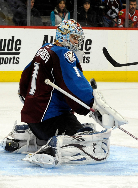 . Colorado Avalanche goalie Semyon Varlamov (1), of Russia, blocks a shot during the second period of an NHL hockey game against the Chicago Blackhawks, Monday, March 18, 2013, in Denver. (AP Photo/Jack Dempsey)
