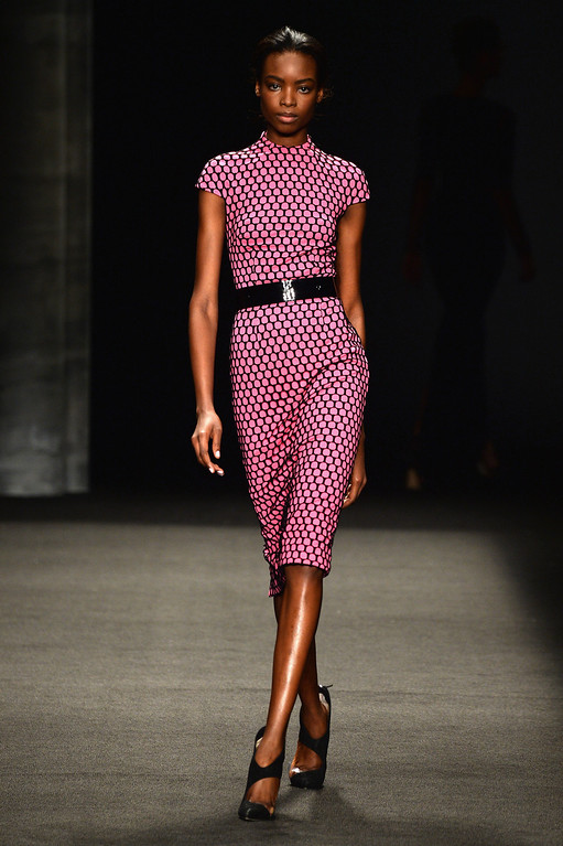 . A model walks the runway at the Monique Lhuillier fashion show during Mercedes-Benz Fashion Week Fall 2014 at The Theatre at Lincoln Center on February 8, 2014 in New York City.  (Photo by Frazer Harrison/Getty Images for Mercedes-Benz Fashion Week)