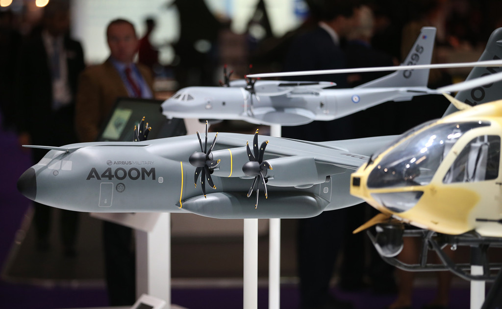 . Airbus airplanes are shown in model form at the Defense and Security Exhibition on September 10, 2013 in London, England.  (Photo by Peter Macdiarmid/Getty Images)