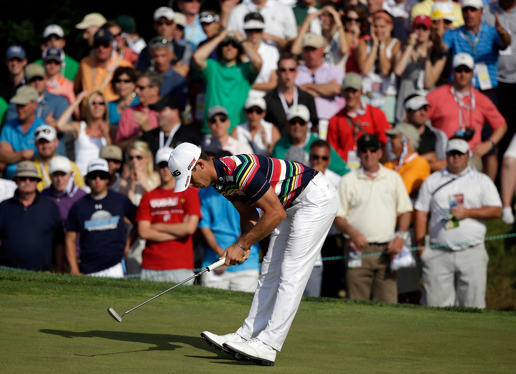. Billy Horschel reacts to a missed putt on the eighth hole during the third round of the U.S. Open golf tournament at Merion Golf Club, Saturday, June 15, 2013, in Ardmore, Pa. (AP Photo/Gene J. Puskar)