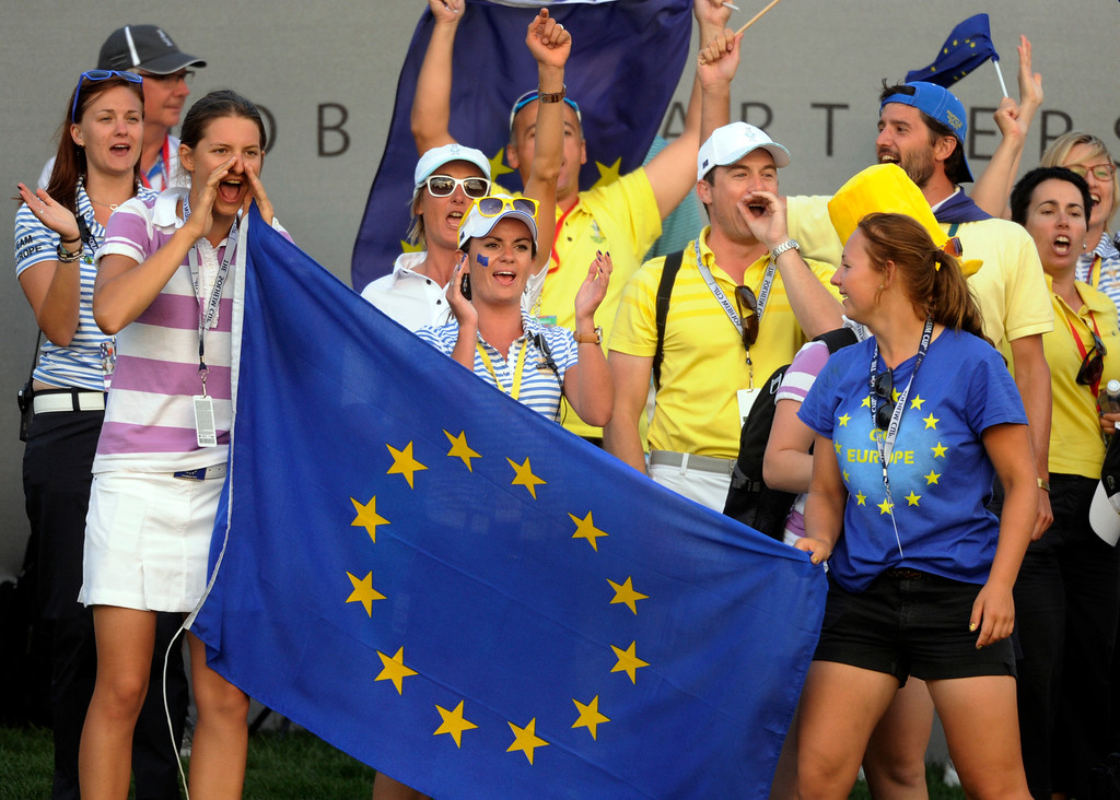 . PARKER, CO. - AUGUST 17: Fans of the European squad cheered on the 18th green Saturday at the Solheim Cup. It was the American Team versus the Europeans as play continued at the Colorado Golf Club Saturday afternoon, August 17, 2013. Photo By Karl Gehring/The Denver Post