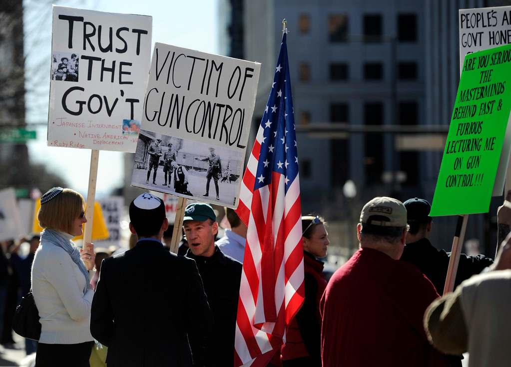 . DENVER, CO. - JANUARY  19: Nearly 1000 Pro gun supporters rally at the Colorado State Capitol Saturday afternoon, January 19th, 2013.  (Photo By Andy Cross / The Denver Post)
