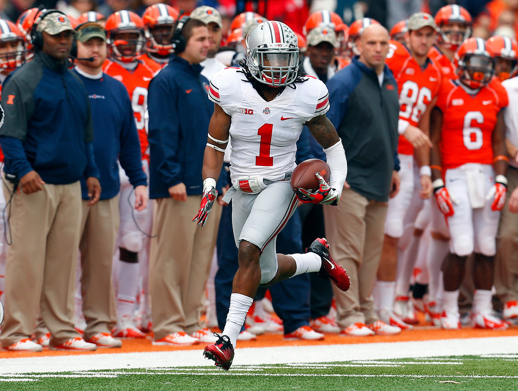 . In this Nov. 16, 2013, file photo, Ohio State cornerback Bradley Roby (1) runs an interception back for a touchdown during the first half of an NCAA college football game against Illinois in Champaign, Ill. Roby was selected in the first round, 31st overall, by the Denver Broncos in the NFL draft on Thursday, May 8, 2014. (AP Photo/Jeff Haynes, File)