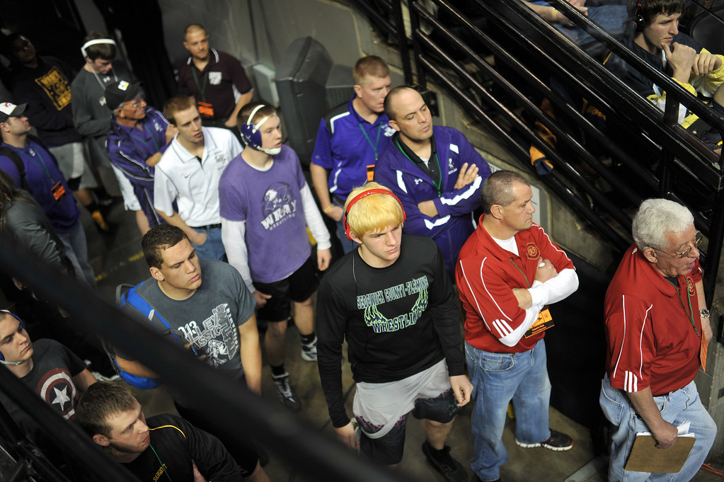 . DENVER, CO. - FEBRUARY 22: The wrestlers are waiting for their matches at the High School State Championship tournament at Pepsi Center February 22, 2013. Denver, Colorado. (Photo By Hyoung Chang/The Denver Post)