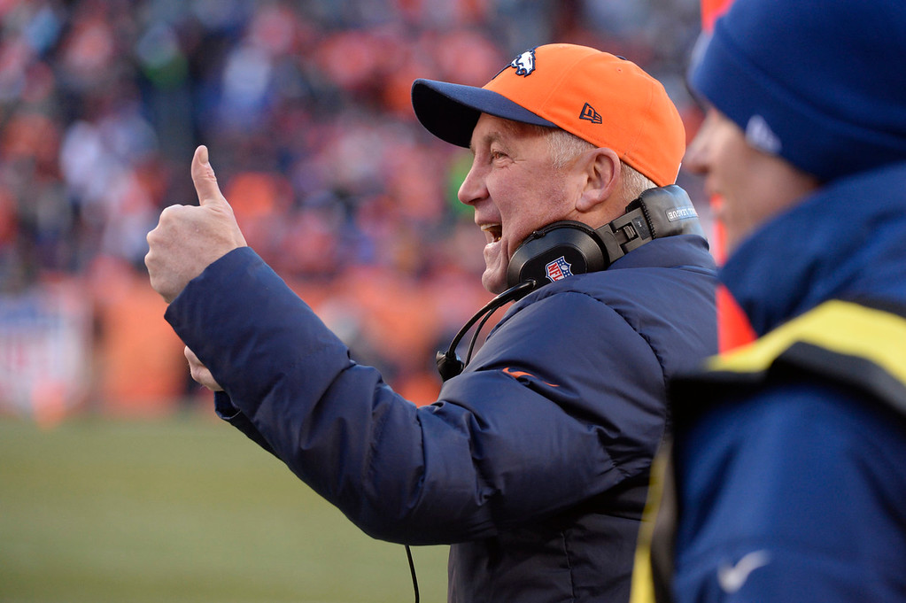 . Denver Broncos head coach John Fox on the sidelines in the second quarter. The Denver Broncos take on the San Diego Chargers at Sports Authority Field at Mile High in Denver on January 12, 2014. (Photo by Craig F. Walker/The Denver Post)