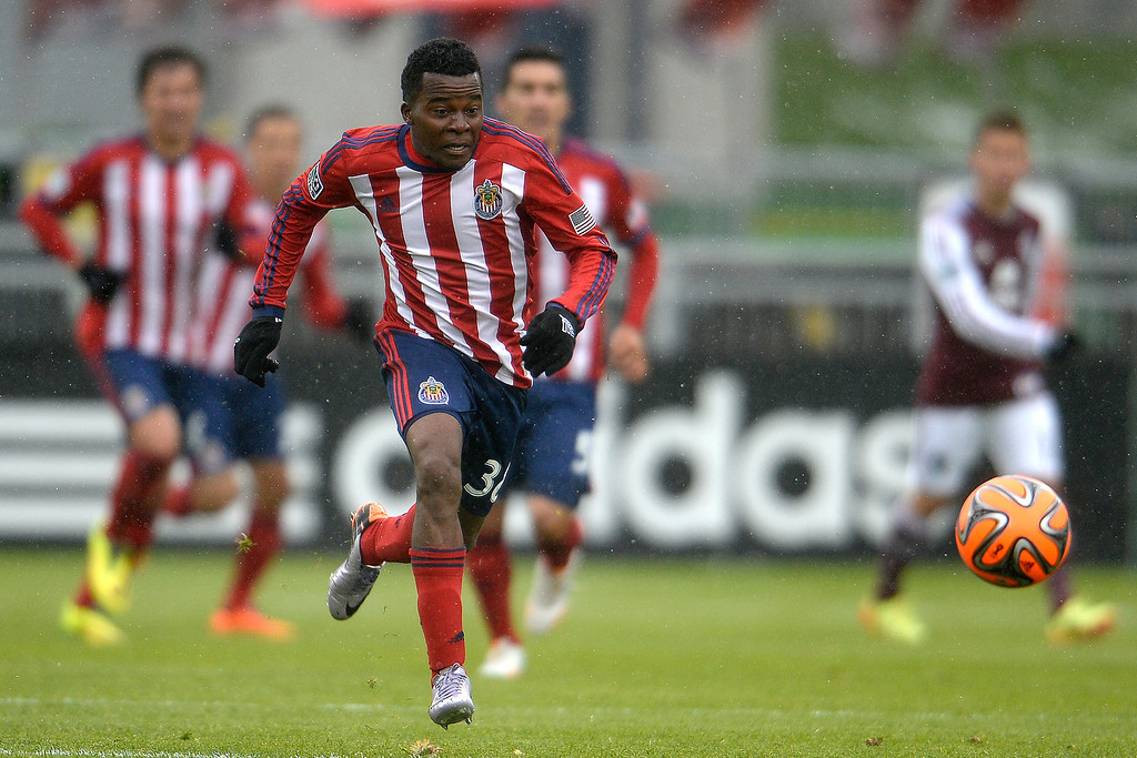 . Marvin Chavez (38) of Chivas USA takes the ball for a breakaway 2-0 goal against the Colorado Rapids during the second half. Chivas USA defeated the Colorado Rapids 3-1 on Sunday, May 11, 2014. (Photo by AAron Ontiveroz/The Denver Post)