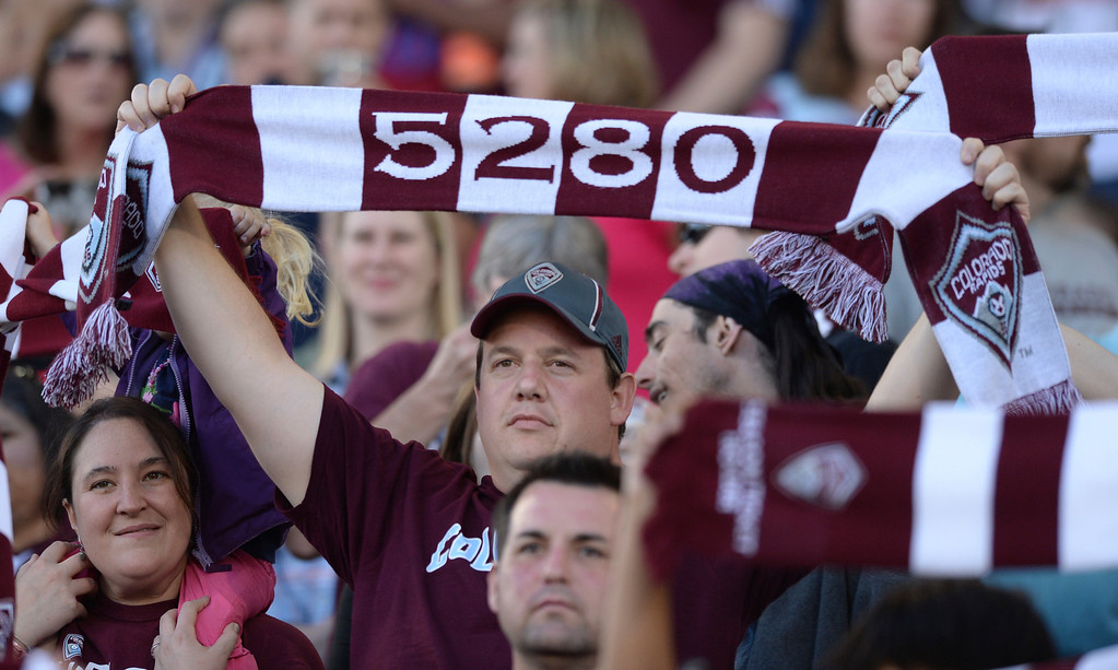 . COMMERCE CITY, CO - MAY 3:  Colorado fans stood for the introduction of players before the game. The Colorado Rapids defeated the Los Angeles Galaxy 1-0 Saturday night, May 3, 2014 at Dick\'s Sporting Good Park. (Photo by Karl Gehring/The Denver Post)