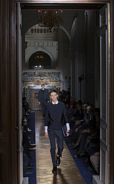 . Models wear creations by fashion designers Maria Grazia Chiuri and Pier Paolo Piccioli for Valentino, as part of their presentation for the men\'s Spring Summer 2013 Haute Couture fashion collection presented in Paris, Wednesday, Jan. 16 2013. (AP Photo/ Jacques Brinon)
