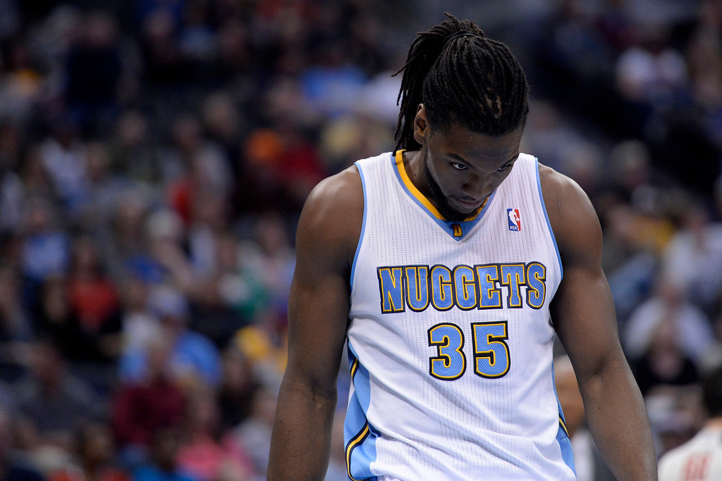 . Denver Nuggets forward Kenneth Faried (35) reacts to a foul call during the fourth quarter of the Grizzlies\' 94-92 win. (Photo by AAron Ontiveroz/The Denver Post)