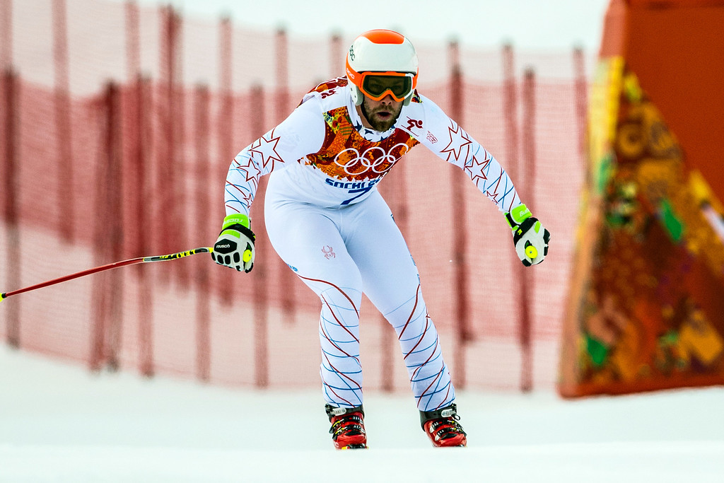 . KRASNAYA POLYANA, RUSSIA  - JANUARY 9: Travis Ganong, of Squaw Valley, competes in the Men\'s Downhill race at Rosa Khutor Alpine Center during the 2014 Sochi Olympic Games Sunday February 9, 2014. (Photo by Chris Detrick/The Salt Lake Tribune)