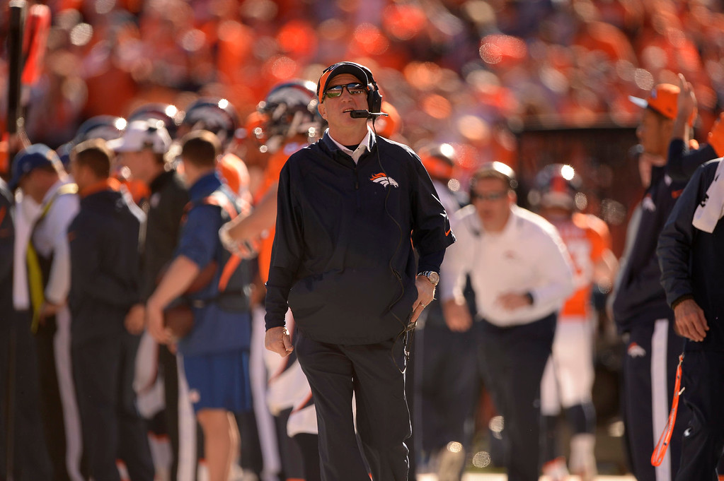 . Denver Broncos head coach John Fox during the first quarter. The Denver Broncos vs. The New England Patriots in an AFC Championship game  at Sports Authority Field at Mile High in Denver on January 19, 2014. (Photo by John Leyba/The Denver Post)