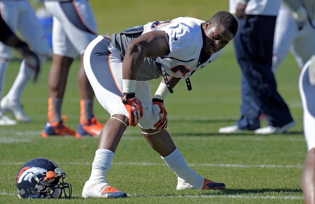 . Denver Broncos linebacker Steven Johnson (53) stretches before practice October 2, 2013 at Dove Valley. (Photo by John Leyba/The Denver Post)