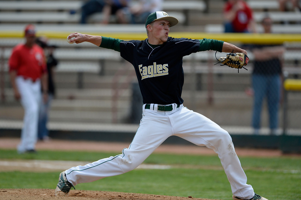 . DENVER, CO. - MAY 23: Mountain Vista starting pitcher, Nick Leonard, pitching against Regis during the Colorado State 5A baseball playoffs at All City Field Friday afternoon, May 23, 2014. (Photo By Andy Cross / The Denver Post)