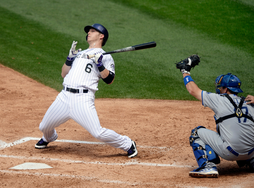 . DENVER, CO - JULY 5:  Colorado batter Corey Dickerson leaned back from an inside pitch in the third inning. The Colorado Rockies defeated the Los Angeles Dodgers 8-7 at Coors Field Saturday afternoon, July 5, 2014.  Photo by Karl Gehring/The Denver Post