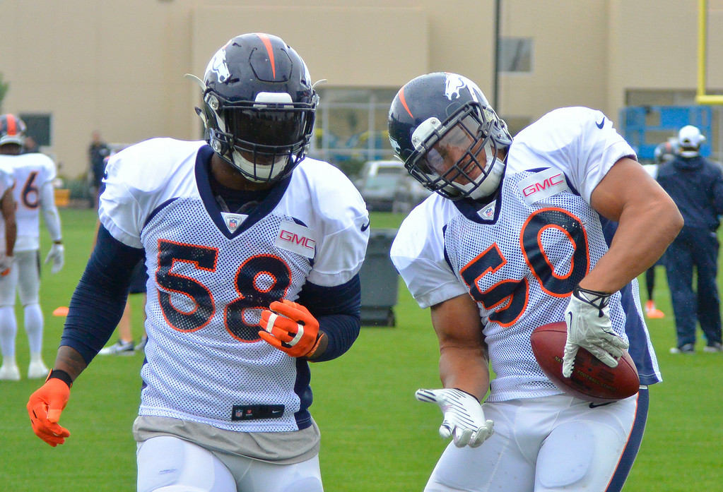 . Denver Broncos linebacker L.J. Fort (50) rips the ball away from Denver Broncos outside linebacker Von Miller (58) during drills on day seven of the Denver Broncos 2014 training camp July 31, 2014 at Dove Valley. (Photo by John Leyba/The Denver Post)