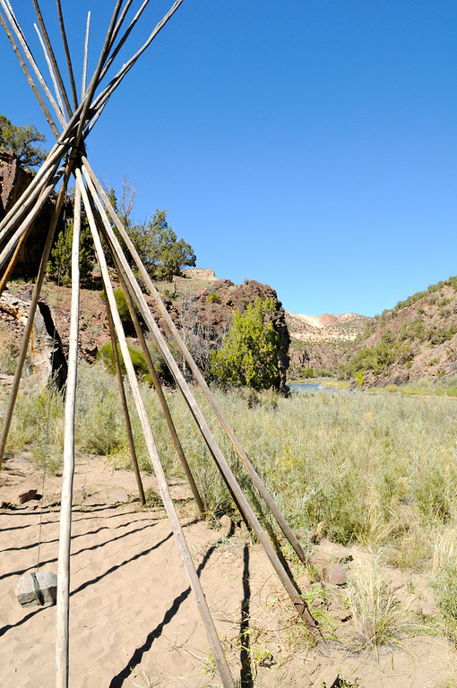 . A teepee skeleton is all that remains of the riverside BLM Ranger Station in the Gunnison River National Conservation Area after crews closed up for the season last weekend. TUnlike the federal government this week, the river remains open for business. Scott Willoughby, The Denver Post