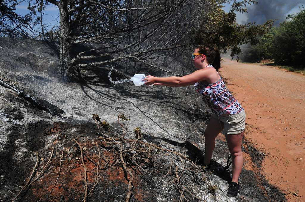 ". Myka Burton pours water on a roadside hot spot on Monday, May 5, 2014, in Guthrie, Okla. ""I\'m doing anything I can to help\"" said Burton. Firefighters worked Monday to battle a large wildfire in central Oklahoma that destroyed at least six homes and left at least one person dead after a controlled burn spread out of control. (AP Photo/Nick Oxford)"