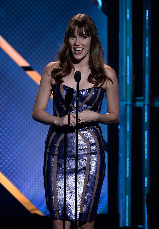 . Actress Christa B. Allen speaks onstage during CW Network\'s 2013 Young Hollywood Awards presented by Crest 3D White and SodaStream held at The Broad Stage on August 1, 2013 in Santa Monica, California.  (Photo by Kevin Winter/Getty Images for PMC)