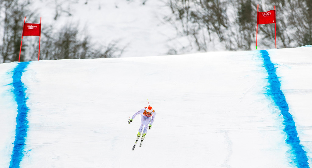 . KRASNAYA POLYANA, RUSSIA  - JANUARY 9: Bode Miller competes in the Men\'s Downhill race at Rosa Khutor Alpine Center during the 2014 Sochi Olympic Games Sunday February 9, 2014.  Miller finished in eighth place with a time of 2:06.75. (Photo by Chris Detrick/The Salt Lake Tribune)