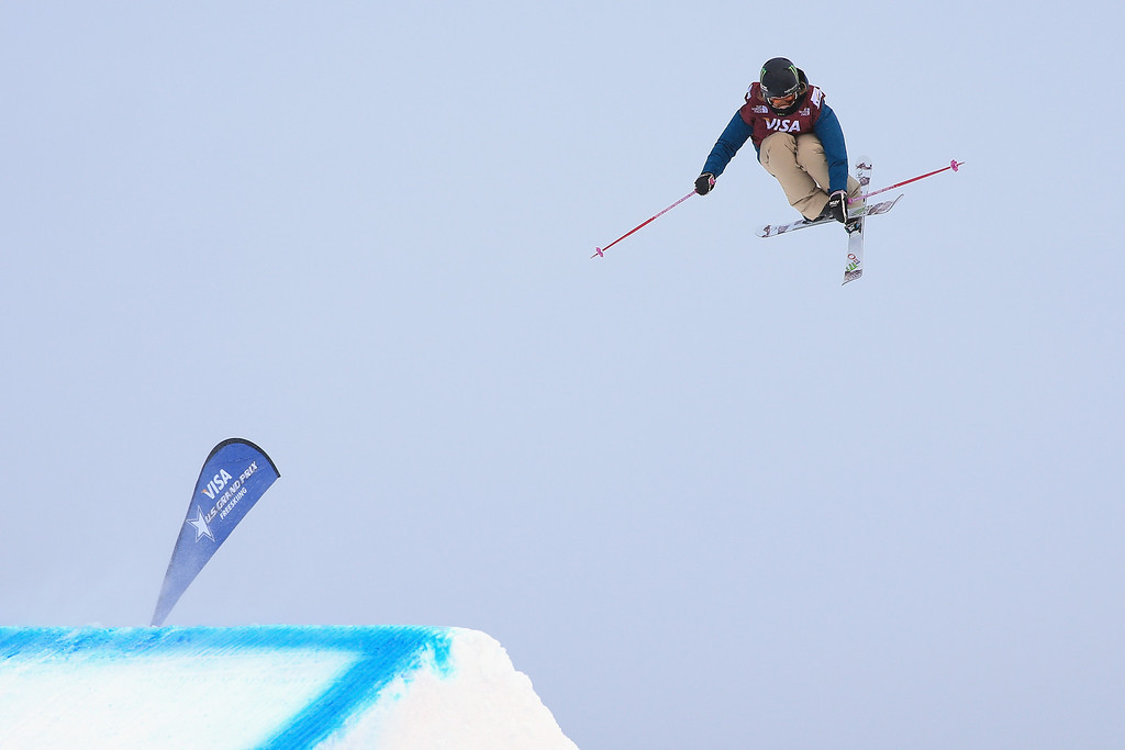 . Maggie Voisin skis to fourth place in the women\'s FIS Slopestyle Ski World Cup at the U.S. Snowboarding and Freeskiing Grand Prix on December 21, 2013 in Copper Mountain, Colorado.  (Photo by Doug Pensinger/Getty Images)