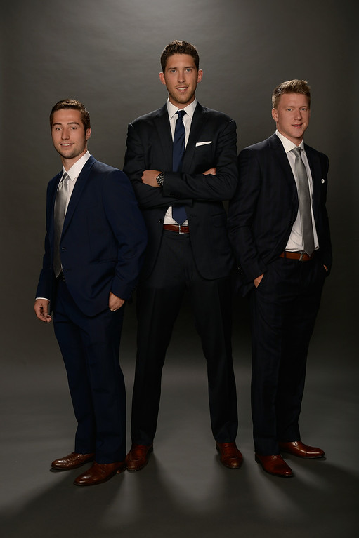. LAS VEGAS, NV - JUNE 24:  (L-R) Tyler Johnson, Ben Bishop, and Ondrej Palat of the Tampa Bay Lightning pose for a portrait during the 2014 NHL Awards at Encore Las Vegas on June 24, 2014 in Las Vegas, Nevada.  (Photo by Harry How/Getty Images)