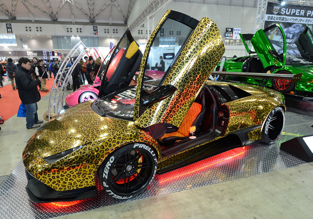 . An animal-pattern-designed Lamborghini Murcielago is displayed during the Tokyo Auto Salon 2013 exhibition at the Makuhari Messe in Chiba on January 11, 2013.   TOSHIFUMI KITAMURA/AFP/Getty Images