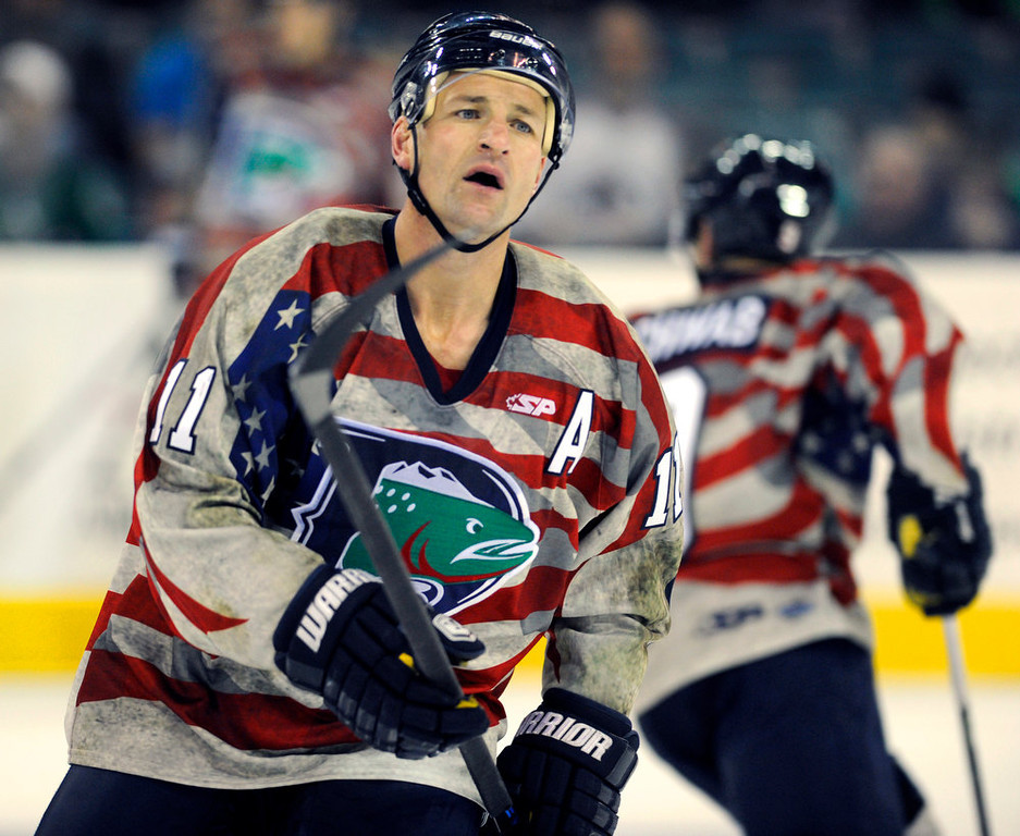 . Denver Cutthroats\' 39-year-old forward Brad Smyth skated to the bench during the game Friday night. Smyth has played for an incredible 21 different pro hockey teams in his career. The Allen Americans defeated the Denver Cutthroats 2-1 Friday night at the Denver Coliseum. Smyth had the team\'s only goal in the loss. Karl Gehring/The Denver Post