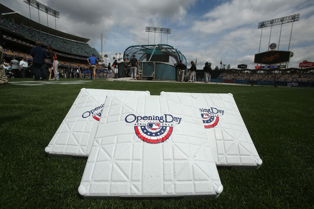 . The bases sit on the field before the game between the San Francisco Giants and the Los Angeles Dodgers at Dodger Stadium on Opening Day on April 1, 2013 in Los Angeles, California.  (Photo by Stephen Dunn/Getty Images)